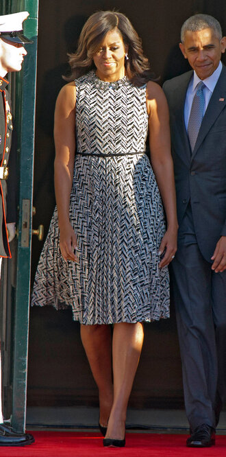 dress midi dress pumps michelle obama first lady outfits