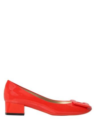 pumps leather orange shoes