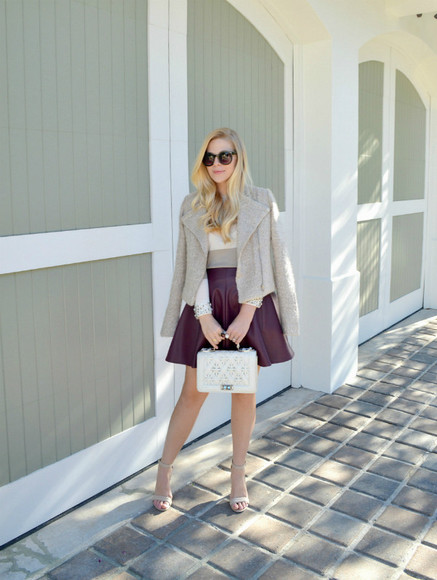 jacket blogger bag jewels fash boulevard patineuse burgundy beige