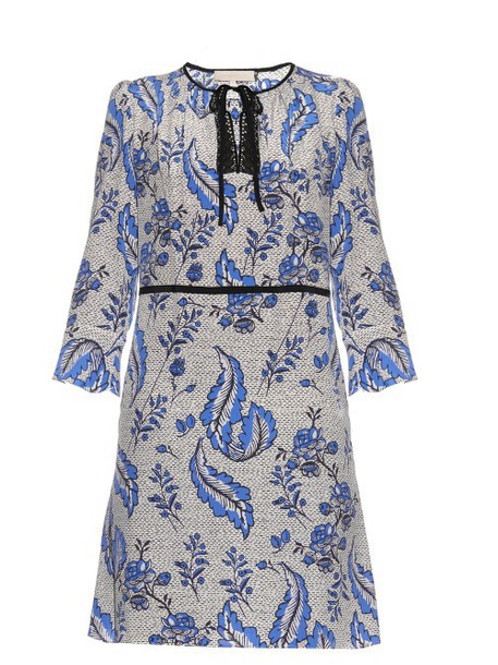 VANESSA BRUNO Emod ivy-print silk-crepe dress in blue / multi
