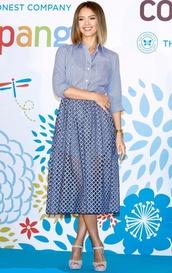 shirt,skirt,midi skirt,jessica alba,blue,sandals,shoes