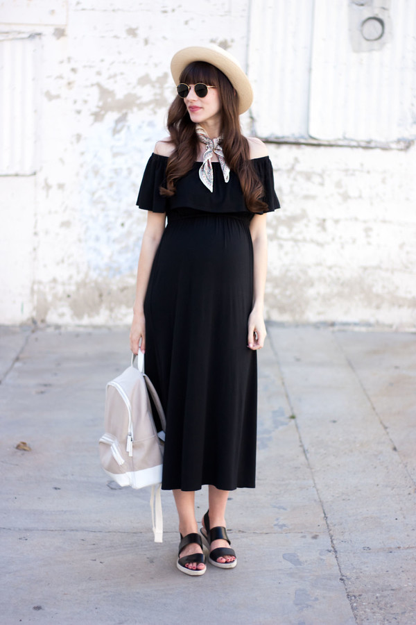 jeans and a teacup blogger dress hat shoes sunglasses straw hat off the shoulder dress black midi dress midi dress spring outfits flats backpack