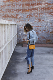 jacket,tumblr,blue jacket,denim jacket,denim,jeans,blue jeans,cropped jeans,patchwork,bag,prada,prada bag,yellow,yellow bag,high heel pumps,pumps,black heels,heels,high heels,sunglasses