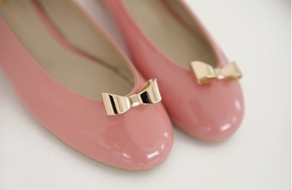 shoes flats bow gold pink tumblr