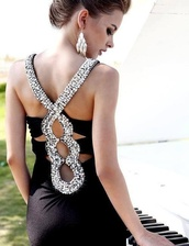 dress,style,dressy,little black dress,formal,modern,beautiful,glamour,black silk,open back dresses,diamonds,open back dress silver,black prom