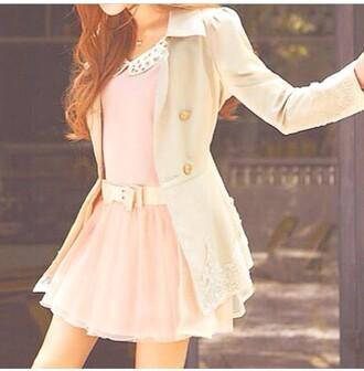 coat dress style fashion girly girl pink dress jacket collared dress hair accessory