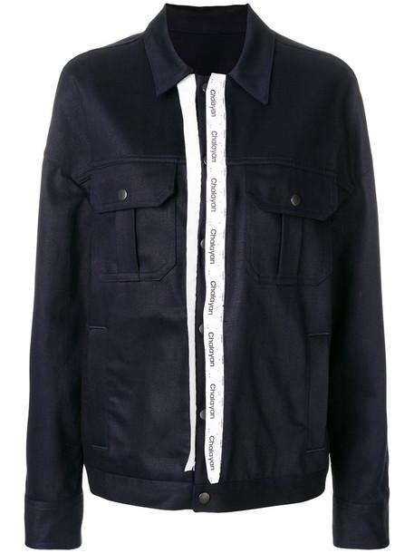 Chalayan - oversized classic jacket - women - Cotton - 40, Blue, Cotton
