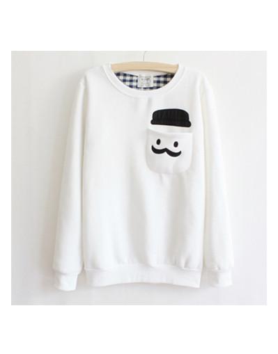 Men's mustache sweater pullover shirt pocket cotton fleece warm