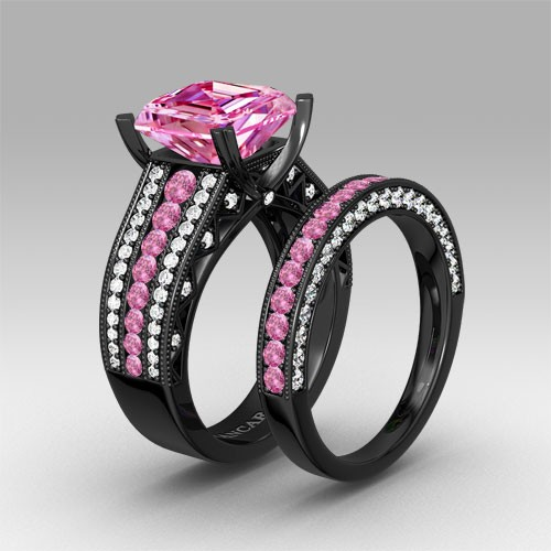 Black And Pink Wedding Rings: Pink And White Cubic Zirconia Asscher Cut Engagement Ring