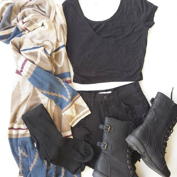 aztec tribal pattern cardigan boots black tribal cardigan tribal tribal print cardigan aztec sweater tribal sweater top black boots black military shoes military boots combat boots black combat boots black booties black crop top crop tops
