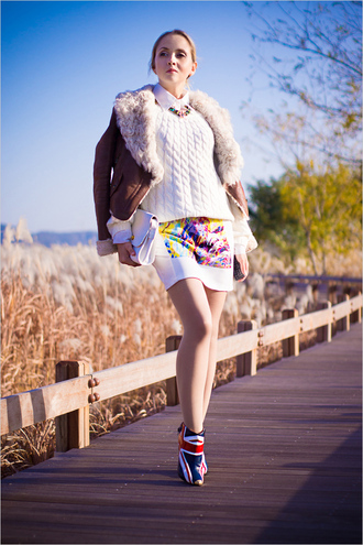 my blonde gal skirt jacket jewels sweater blouse