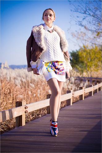 jewels sweater jacket blouse skirt my blonde gal