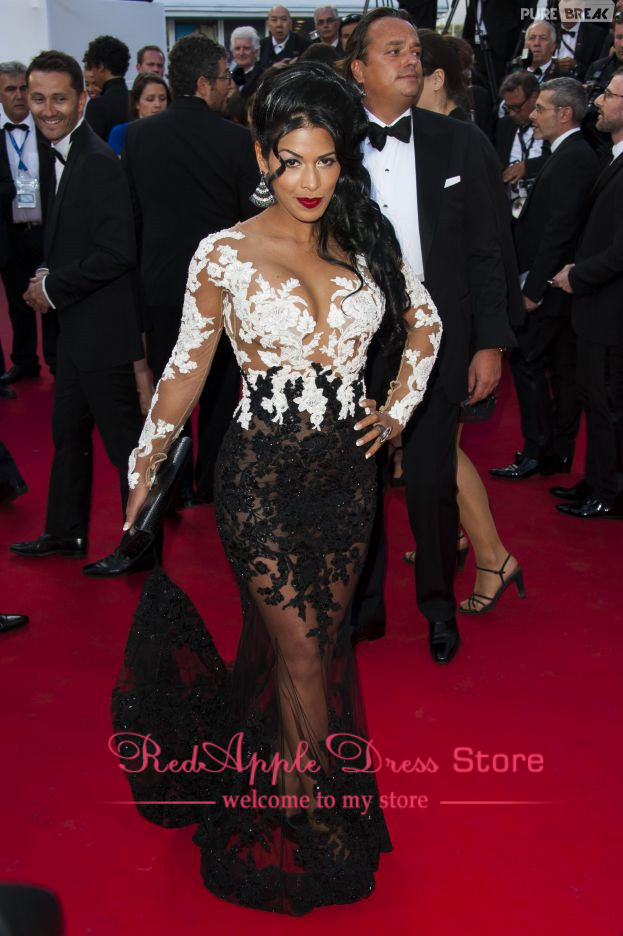 New Arrival Sexy See through V Neck Lace Long Celebrity Dress 2014 Charming Full Sleeve White Black Lace Red Carpet Dress-in Celebrity-Inspired Dresses from Apparel & Accessories on Aliexpress.com