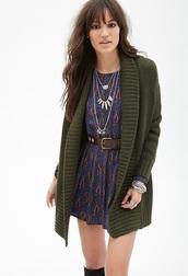 cardigan,olive green,shawl collar
