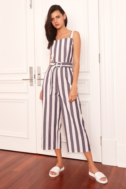 THE FIFTH SEQUENCE STRIPE JUMPSUIT navy w ivory