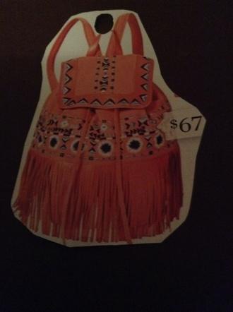 bag orange bag leather fringe bag