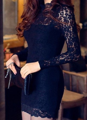 dress black dress lace dress fashion