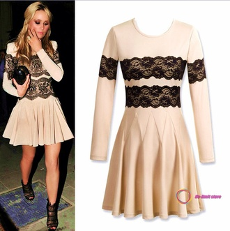 dress lace designs long sleeved cream colored nude dress cute dress