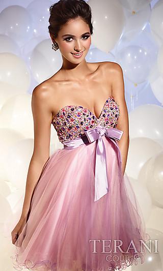 Purple Babydoll Prom Dress, Terani Short Dresses - Simply Dresses