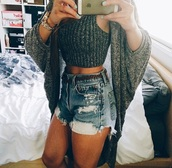 shorts,denim shorts,High waisted shorts,summer shorts,cardigan,style,fashion,spring break,spring,summer top,ootd dress,jenner coat,grey,knitted cardigan,knitted sweater,iphone,michael kors,nails,blue nails ring essie polish,gold sequins,outfit,tank top,summer,summer outfits,top,denim,ripped,ripped shorts,shirt,cute,pretty,boho,urban,tumblr,sweater,jacket,t-shirt,sleeveless,crop tops,crop,sleeveless top,comfy,nice,cute top,grey cardigan,knitted top,grey top,tumlr fashion,tumblr outfit,spring outfits,fitness,body goals,on fleekfashion