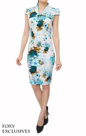 dress,classic,oriental,cheongsam,modern,mandarin collar,pencil cut,traditional,feminine,blue dress,cap sleeves dresses