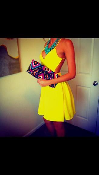 dress yellow cut-out dress summer dress yellow summer dress