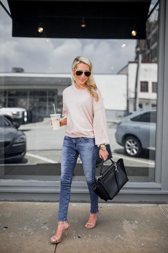 krystal schlegel blogger sweater jeans shoes bag sunglasses handbag black bag sandals high heel sandals fall outfits
