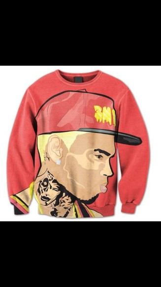 chris brown breezy black pyramid sweater crewneck