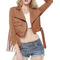 Brown tassels design three quarter sleeve stylish suede jacket