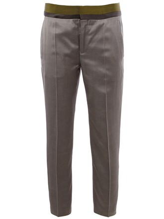 cropped women cotton silk grey pants