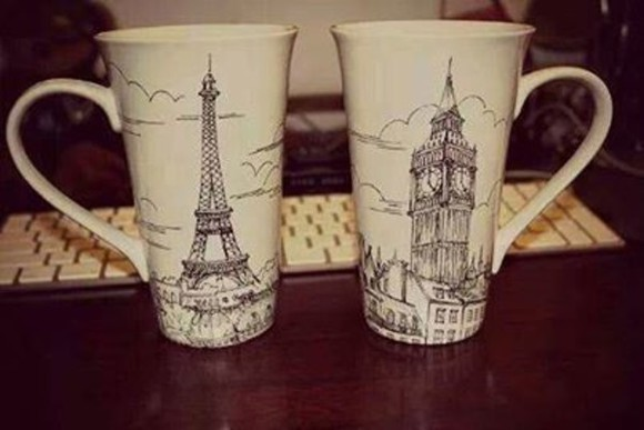 eiffel tower jewels london big ben cup coffee cup