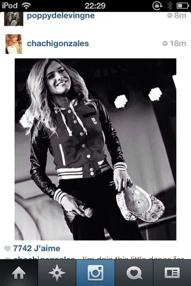 jacket chachi gonzales chachimomma swag dance dancer perfection girly b&w baseball jacket baseball love koala kim kardashian