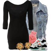 shoes,nike kicks,nike air,nike,denim jacket,little black dress,chanel inspired,pink watch,tomboy,kicks with chicks,seenfromtaris,dress,jacket