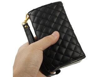 phone cover quilted leather carry phone wristband button black nice needthisasap desperate for this
