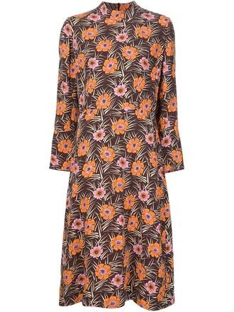 dress tunic dress floral print brown