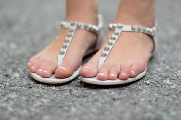 sandals white studs flat white shoes