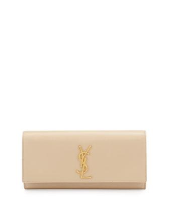 Saint Laurent Cassandre Calfskin Clutch Bag, Cream
