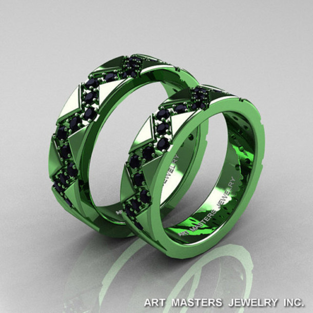Jewels Green Gold Matching Couples Mens Wedding Band Black