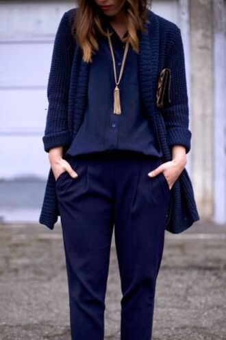 cardigan all navy blue outfit all blue outfit navy blue caridgan oversized cardigan shirt blue shirt pants blue pants office outfits fall outfits necklace
