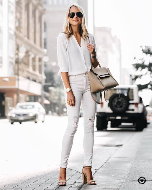 5b3c3f748b shirt tumblr office outfits white shirt sunglasses bag nude bag denim jeans  white jeans skinny jeans