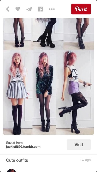 shoes pastel little black boots studs spikes style black heels high heels shorts high waisted shorts purple pastel goth dress