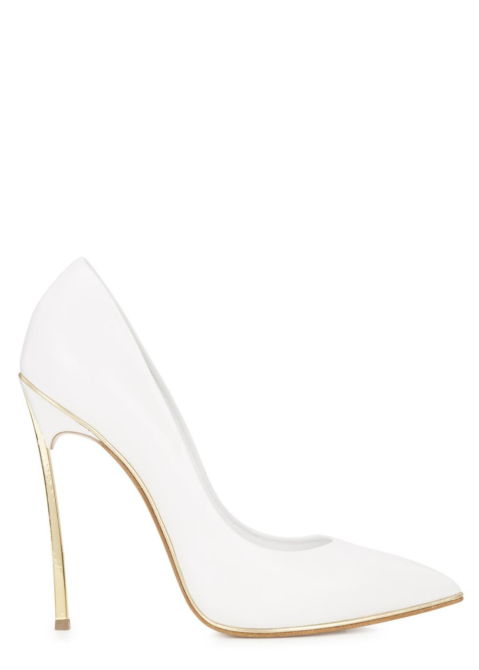 Blade white pointed leather pumps  - Women