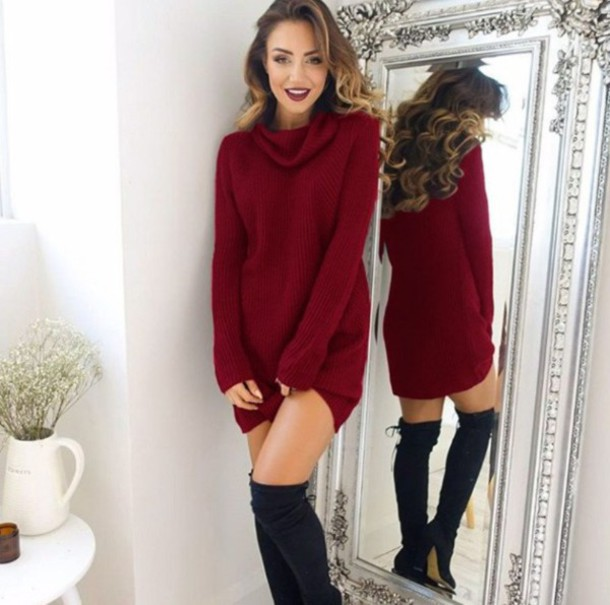 Sweater: girl, girly, girly wishlist, sweater dress, red, burgundy ...