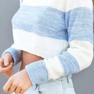 sweater blue clothes details light girly top pretty chic white crop tops