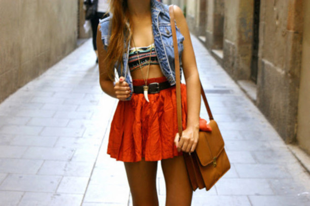shirt clothes aztec vest High waisted shorts jacket tank top skirt orange jeans bandeau necklace bag pretty t-shirt