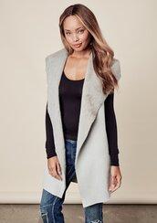 jacket,vest,fall vest,sleeveless vegan vest,vegan suede,vegan suede vest,faux fur,faux fur vest,knitted back vest,knitted back,ribbed sweater back,faux fur shawl collar,lovestitch,chic vest