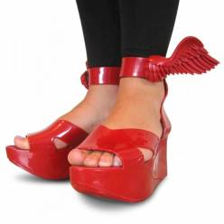 Vivienne westwood anglomania (x melissa) smooth red angel wing shoes