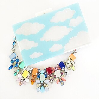 jewels the shopping bag rainbow clouds jewelry statement necklace bib necklace colorful necklace colorful jewelry shopping crystal sparkle
