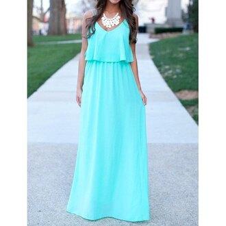 dress baby blue blue beach maxi dress