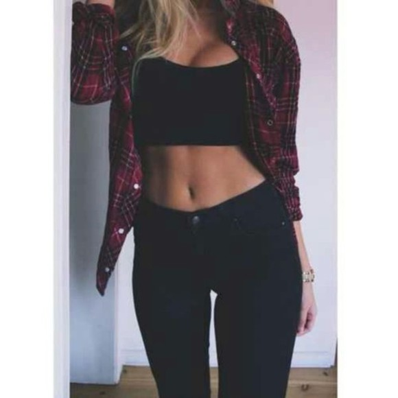 black pants crop tops flannel